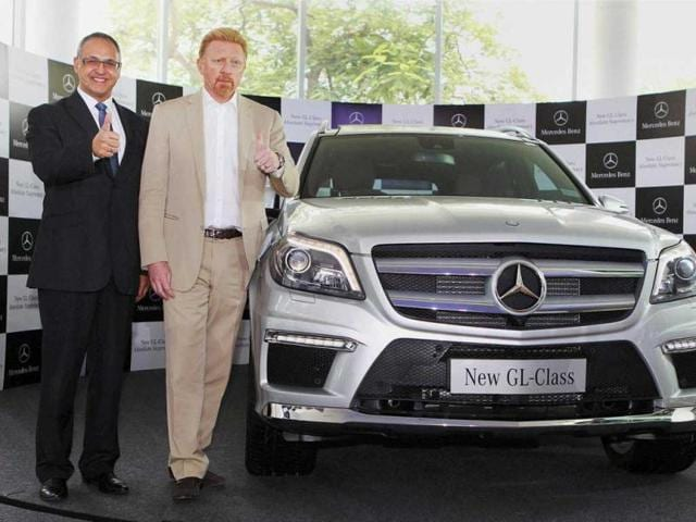 Tennis star Boris Becker (L) and Eberhard Kern (MD and CEO,Mercedes-Benz India) at the Launch of the luxurious SUV, the new GL Class Mercedes-Benz. PTI