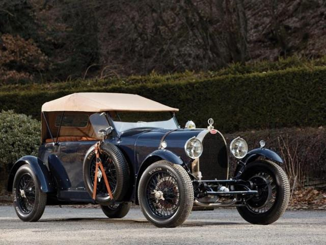 1929 Bugatti Type 44 Grand Sport in the style of Bugatti : The first ever Bugatti to be built for comfort above speed, it was a huge departure for the company when it debuted, yet it is still predicted to sell for €360,000. Photo:AFP