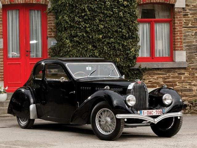 """1937 Bugatti Type 57 Ventoux: This particular car was the 99th Ventoux built of 164 produced, as part of the third series, and it is the only example to feature the distinctive """"teardrop"""" tail. €295,000 - €400,000. Photo:AFP"""