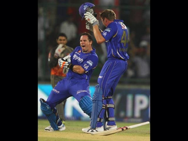 Rajasthan-Royals-B-Hodge-L-and-J-Faulkner-celebrate-their-team-s-victory-over-Sunrisers-Hyderabad-during-the-T20--eliminator-match-in-New-Delhi-PTI-Photo