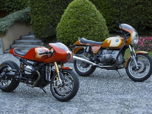 BMW Concept Ninety : This year marks the 90th anniversary of BMW's motorcycle business and it commissioned a special concept bike - the Concept Ninety (left), developed in partnership with the custom bike company Roland Sands Design – to celebrate the milestone. Photo:AFP