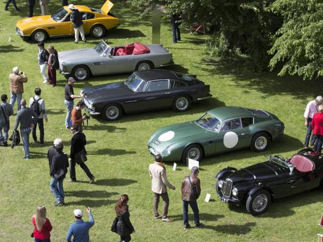 Classic Aston Martins : Aston Martin also pulled out all of the stops to remind everyone that the company is currently celebrating its own centenary. Photo:AFP
