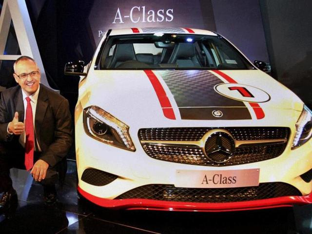 Eberhard-Kern-MD-and-CEO-Mercedes-Benz-India-gestures-at-the-launch-of-new-A-Class-in-Mumbai-on-Thursday-Photo-PTI