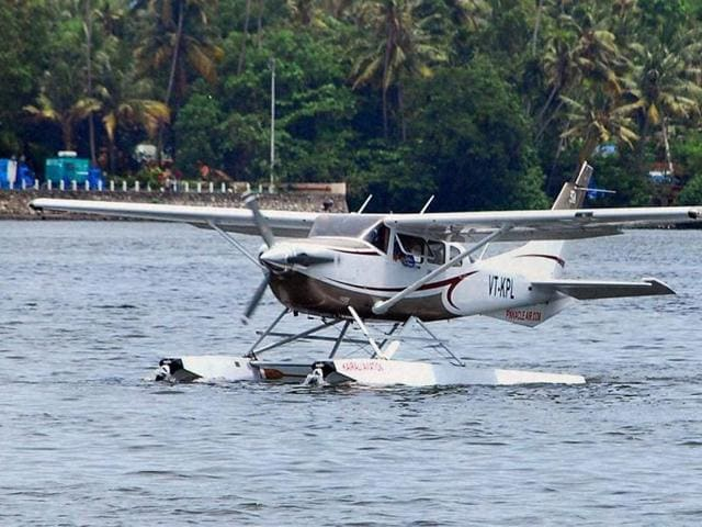 A-seaplane-prepares-to-take-off--from-the-Ashtamudi-lake-during-the-launch-of-the-Seaplane-service-by-Kerala-Tourism-Department-in-Kollam-district-Kerala-PTI-Photo