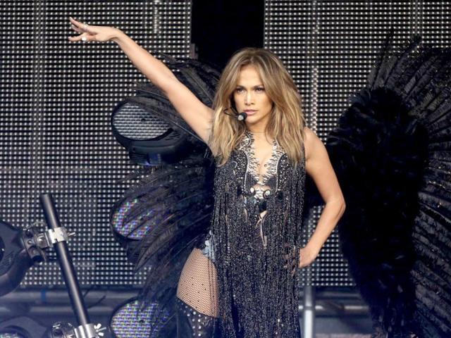 Jennifer Lopez spotted wearing a Falguni & Shane Peacock creation