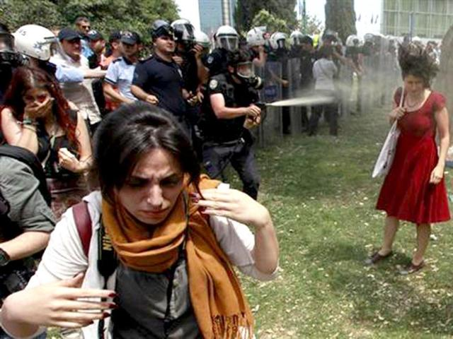 Woman in red becomes a symbol for Istanbul's female protesters