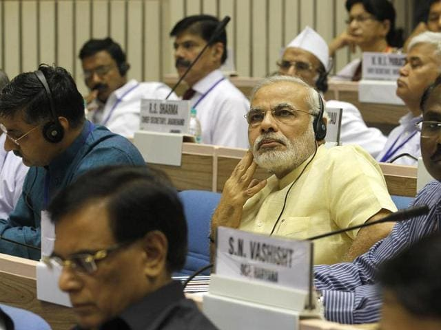 Gujarat--chief-minister-Narendra-Modi-during-chief-ministers-conference-on-internal-security-at-Vigyan-Bhawan-in-New-Delhi-HT-Photo-Arvind-Yadav