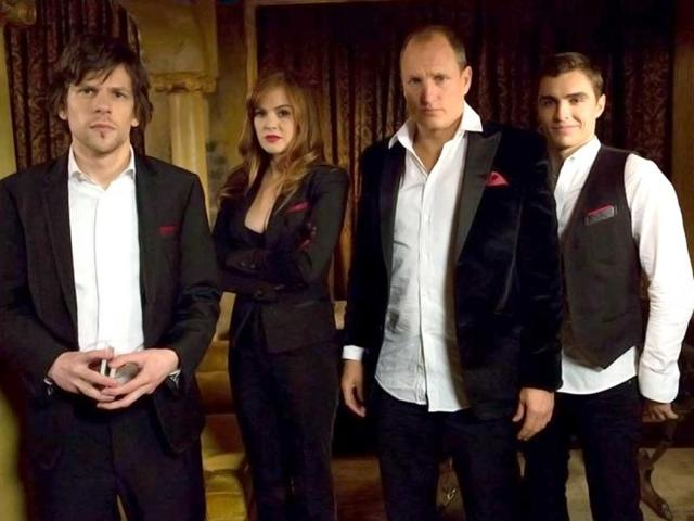 L-R-Jesse-Eisenberg-Isla-Fisher-Woody-Harrelson-and-Dave-Franco-play-team-of-illusionists-who-pull-off-bank-heists-during-their-performances-and-reward-their-audiences-with-the-money