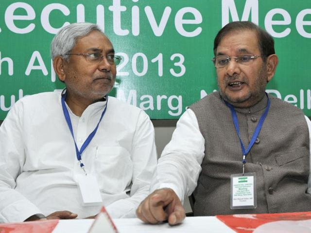 Bihar-chief-minister-Nitish-Kumar-with-JD-U-president-Sharad-Yadav-during-the-Party-s-National-Exicutive-Meeting-in-New-Delhi-Mohd-Zakir-HT-file-photo