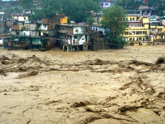 A-view-of-flooded-Mandakini-river-in-Chamoli-district-on-Tuesday-followed-by-heavy-rains-in-Uttarakhand-PTI