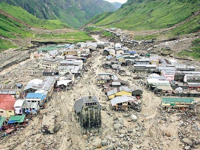A view of the damaged buildings in the area around the Kedarnath temple and dome in Uttarakhand following incessant rains and floods.
