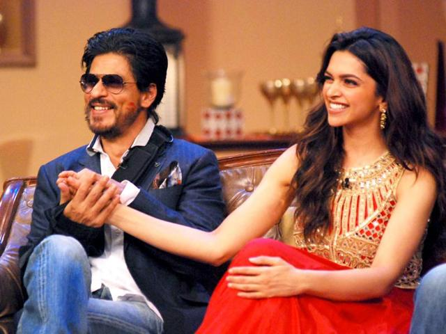 Shah-Rukh-Khan-Deepika-Padukone-and-Chennai-Express-director-Rohit-Shetty-have-visited-sets-of-several-TV-shows-recently-to-promote-their-upcoming-film-They-dance-with-Drashti-Dhami-and-Vivian-Dsena-on-sets-of-Madhubala-Ek-Ishq-Ek-Junoon-Browse-through-Photo-Facebook-iamsrk