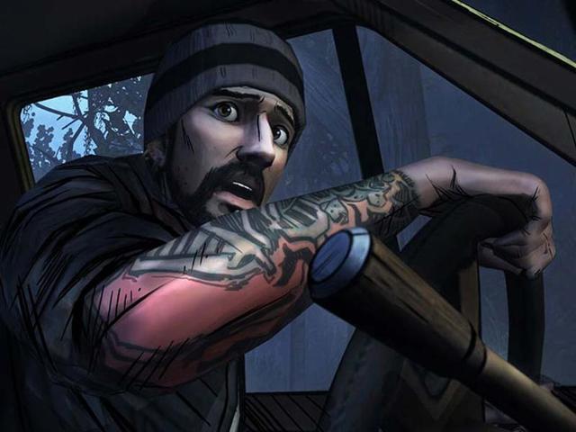 Eddie-peers-out-of-his-car-in-The-Walking-Dead-400-Days-Photo-AFP