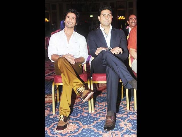 Mirrors? Shahid Kapoor and Abhishek Bachchan at the press conference. (AFP Photo)