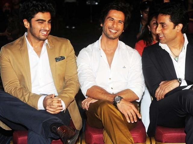 IIFA 2013 opened on Thursday in the presence of top Bollywood stars. At the opening press conference of the 14th IIFA, shutterbugs captured several actors bonding. Arjun Kapoor seems to be having fun with Shahid Kapoor and Abhishek Bachchan at The Venetian hotel in Macau on July 4, 2013. (AFP Photo)