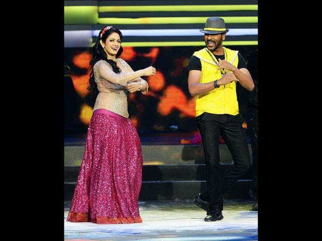Dancing duo: Actors Sridevi and Prabhudeva in the middle of a very lively performance at the IIFAs.