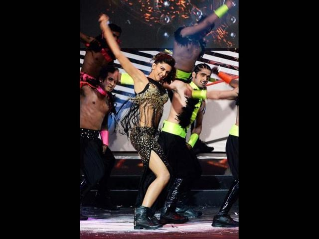 Bling ring: Deepika Padukone dresses it up in a shiny bling black and gold out as she performs with gusto.