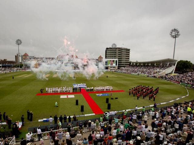 Players-line-up-for-the-opening-ceremony-before-the-opening-Ashes-series-match-between-England-and-Australia-at-Trent-Bridge-cricket-ground-Nottingham-England-AP