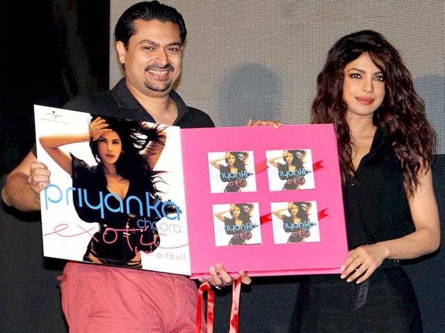 Priyanka Chopra with Universal Music MD Devraj Sanyal during the launch of her new video single Exotic featuring Pitbull, in Mumbai on Friday. (PTI PHOTO)