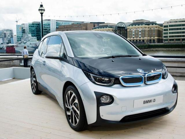 The new BMW i3 all-electric car is seen at an unveiling event for the vehicle in New York. Reuters