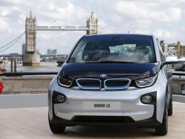 The new BMW i3 electric car is seen with Tower Bridge behind it after it was unveiled at a ceremony in London. Reuters photo