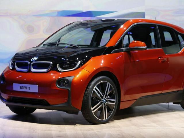 The new BMW i3 electric car is seen after it was unveiled at a ceremony in London. Reuters photo