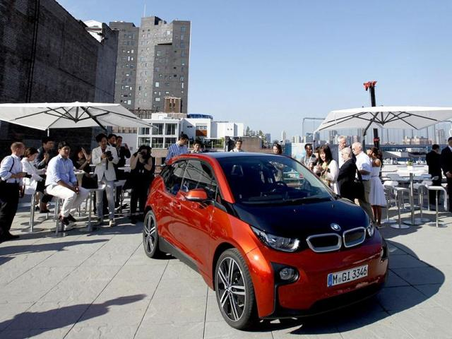 The new BMW i3 all-electric car is seen at an unveiling event for the vehicle in New York. Reuters photo