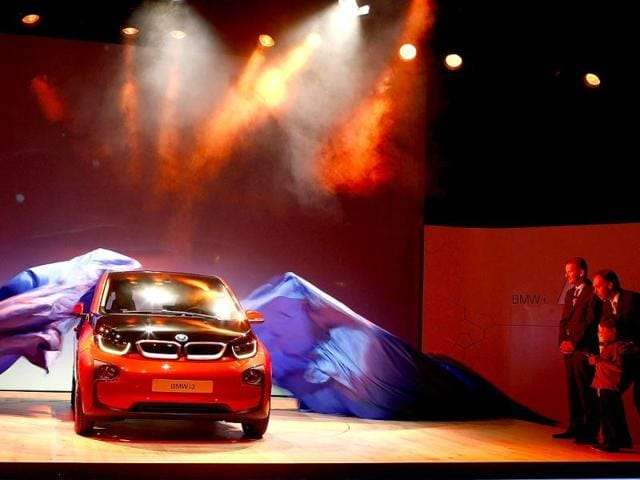 The new BMW i3 electric car is unveiled at a ceremony in London. Reuters photo