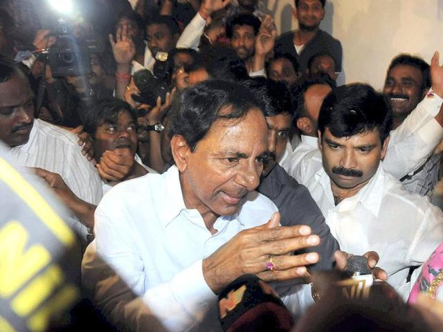 TRS president K Chandrasekhar Rao talks to media in Hyderabad, after Congress Working Committee endorsed a decision to create separate Telangana state. (PTI photo)