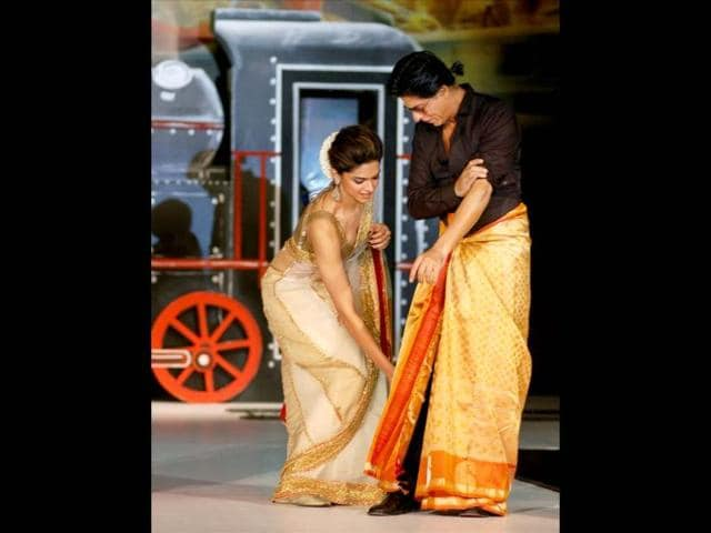 Deepika-Padukone-poses-on-the-sets--of-her-upcoming-film-Happy-New-Year-Shah-Rukh-Khan-and-Deepika-are-currently-shooting-for-the-Farah-Khan-s-movie-Browse-through