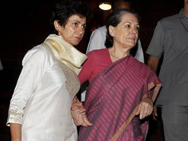 Congress-president-Sonia-Gandhi-with-minister-for-social-justice-and-empowerment-Kumari-Selja-leaves-Parliament-House-during-the-discussion-on-National-Food-Security-Bill-2013-in-the-Lok-Sabha-in-New-Delhi-PTI-Photo