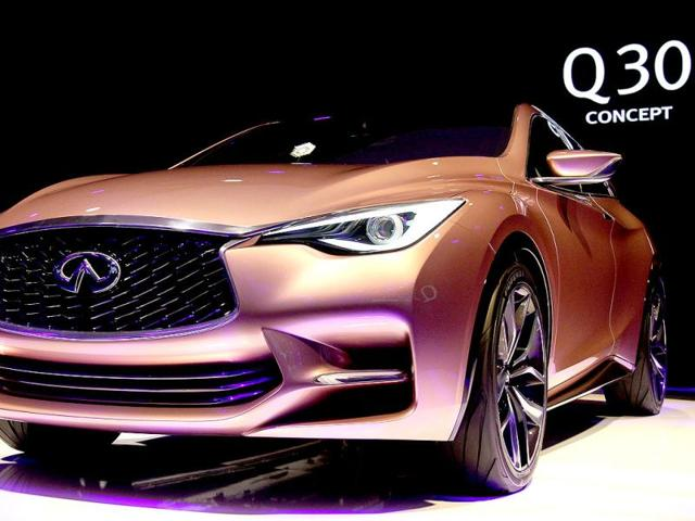 The new Infiniti Q 30 concept car is displayed during a press conference of Infiniti, the luxury brand of Renault - Nissan, at the media day of the 65th edition of the IAA (Internationale Automobil Ausstellung) auto fair in Frankfurt am Main, western Germany. (AFP Photo)