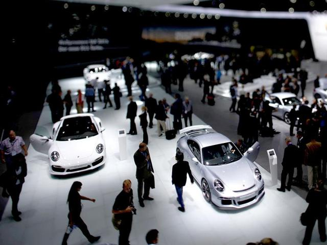 The stand of Porsche is pictured during a media preview day at the Frankfurt Motor Show (IAA). (Reuters Photo)