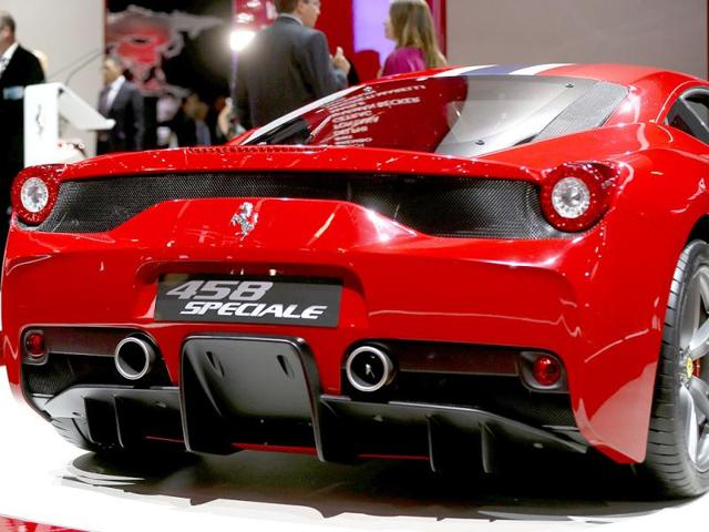 A Ferrari 458 Speciale car is pictured during a media preview day at the Frankfurt Motor Show (IAA). (Reuters Photo)