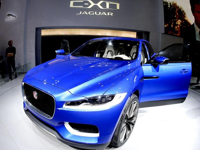 A Jaguar C-X 17 is presented during the first press day of the 65th Frankfurt Auto Show in Frankfurt, Germany. (AP Photo)