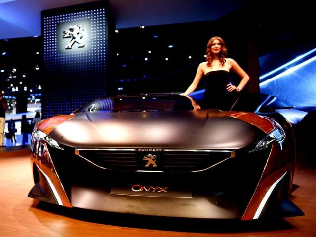 Peugeot Onyx concept car is pictured during a media preview day at the Frankfurt Motor Show (IAA). (Reuters Photo)