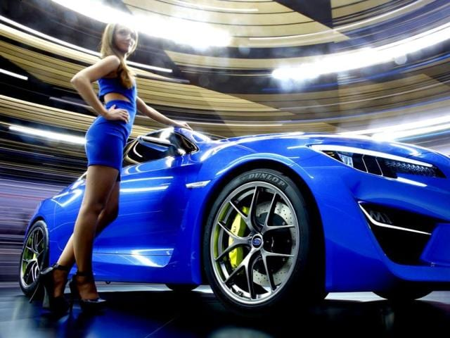 A Subaru WRX car is pictured during a media preview day at the Frankfurt Motor Show (IAA). The world's biggest auto show is open to the public September 14-22. (Reuters Photo)