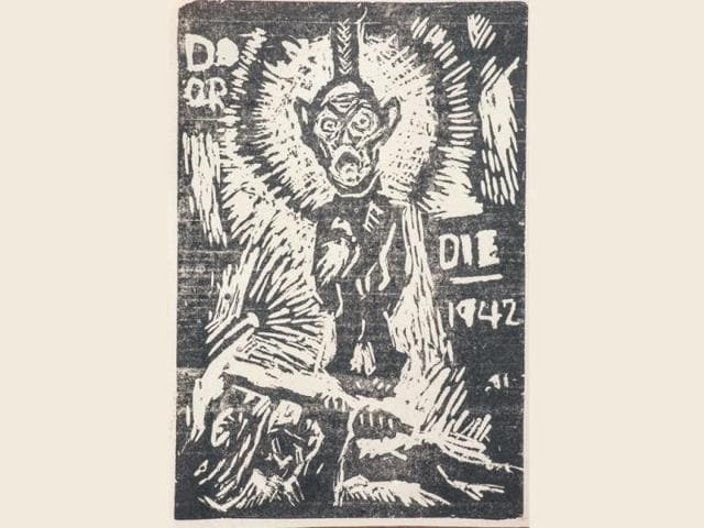 Do-or-Die-linocut-by-Ramkinker-Baij--at-the-exhibition