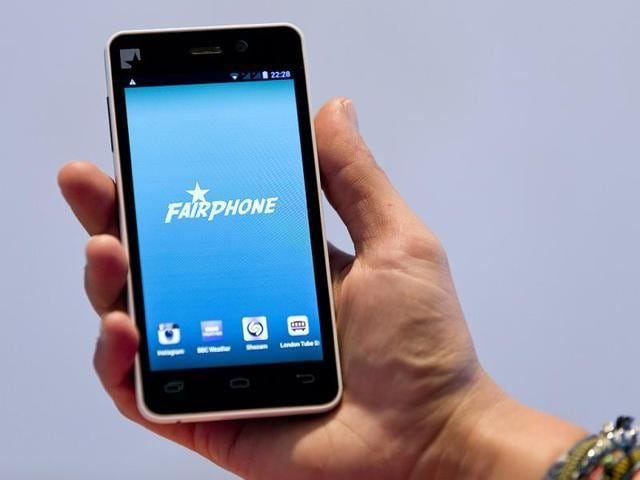 A-picture-shows-a-prototype-of-a-Fairphone-smartphone-during-its-unveiling-in-London-Photo-AFP-Justin-Tallis