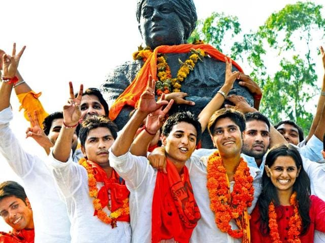 During-the-Delhi-University-Students-Union-elections-the-BJP-supported-ABVP-won-three-of-four-seats-Vipin-Kumar-HT-File-Photo