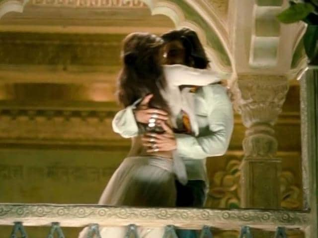 Ranveer Singh and Deepika Padukone get cosy in a still from Ram Leela.