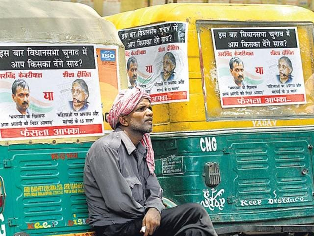 Delhi-s-chief-electoral-officer-said-auto-drivers-need-the-returning-officers-permission-to-put-up-such-posters-Virendra-Singh-Gosain-HT