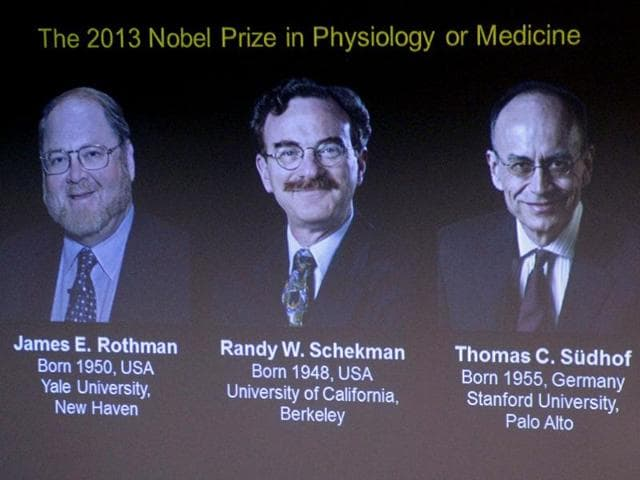 Images-of-the-2013-Nobel-medicine-prize-winners-are-projected-on-a-screen-in-Stockholm-AP-Photo-TT-News-Agency-Janerik-Henriksson