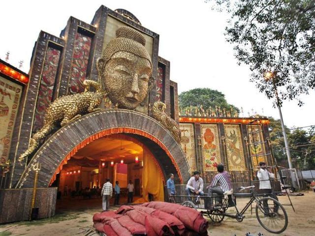 Durga puja,Durga puja pandal,Arambagh puja