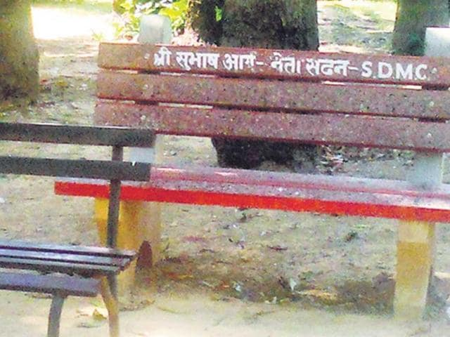 A-bench-in-a-Rajouri-Garden-park-bears-the-name-of-south-corporation-leader-Subhash-Arya-HT-photo