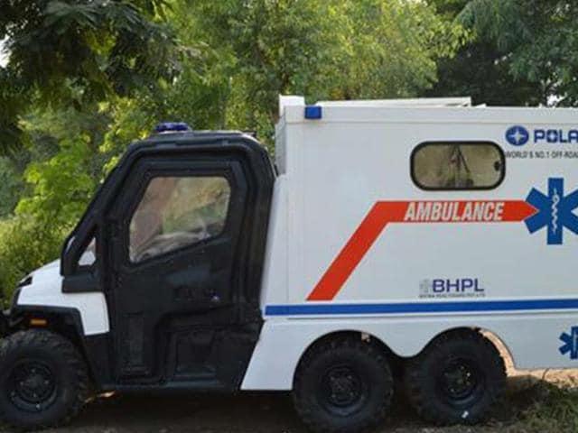 polaris off road ambulance,polaris ranger 6x6,polaris off-road ambulance displayed