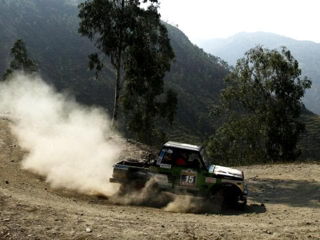 A car crosses Behna, Himachal Pradesh during the 15th Raid De Himalaya rally which started from Shimla and ended in Leh. (HT Photo/Jasjeet Plaha)