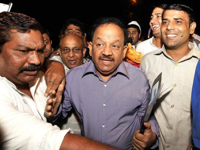 BJP-leader-Harsh-Vardhan-with-his-supporters-leaves-after-attending-party-s-Election-committee-meeting-in-New-Delhi