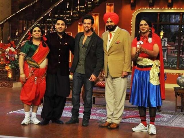 Hrithik Roshan recently visited Kapil Sharma on the sets of his TV show Comedy Nights with Kapil. While Kapil was at his comic best, Hrithik looked totally in the mood to play along. Browse through. (Photo: Twitter/iHrithik)