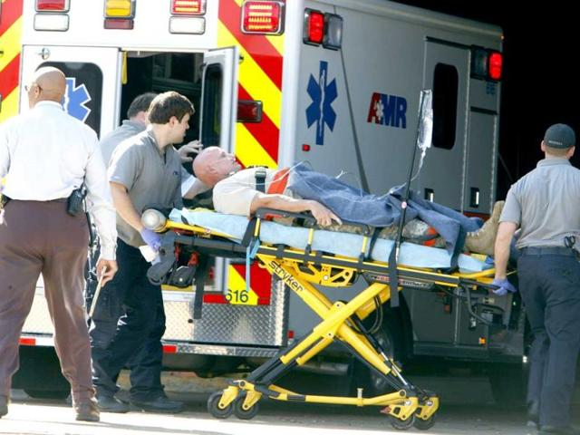 A-patient-believed-to-be-one-of-the-National-Guardsmen-injured-near-the-naval-base-in-Millington-is-taken-to-the-hospital-AP-photo